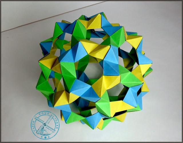 truncated icosahedron, tom hulls phizz, phizz, origami modulowe, modul, model, modular origami
