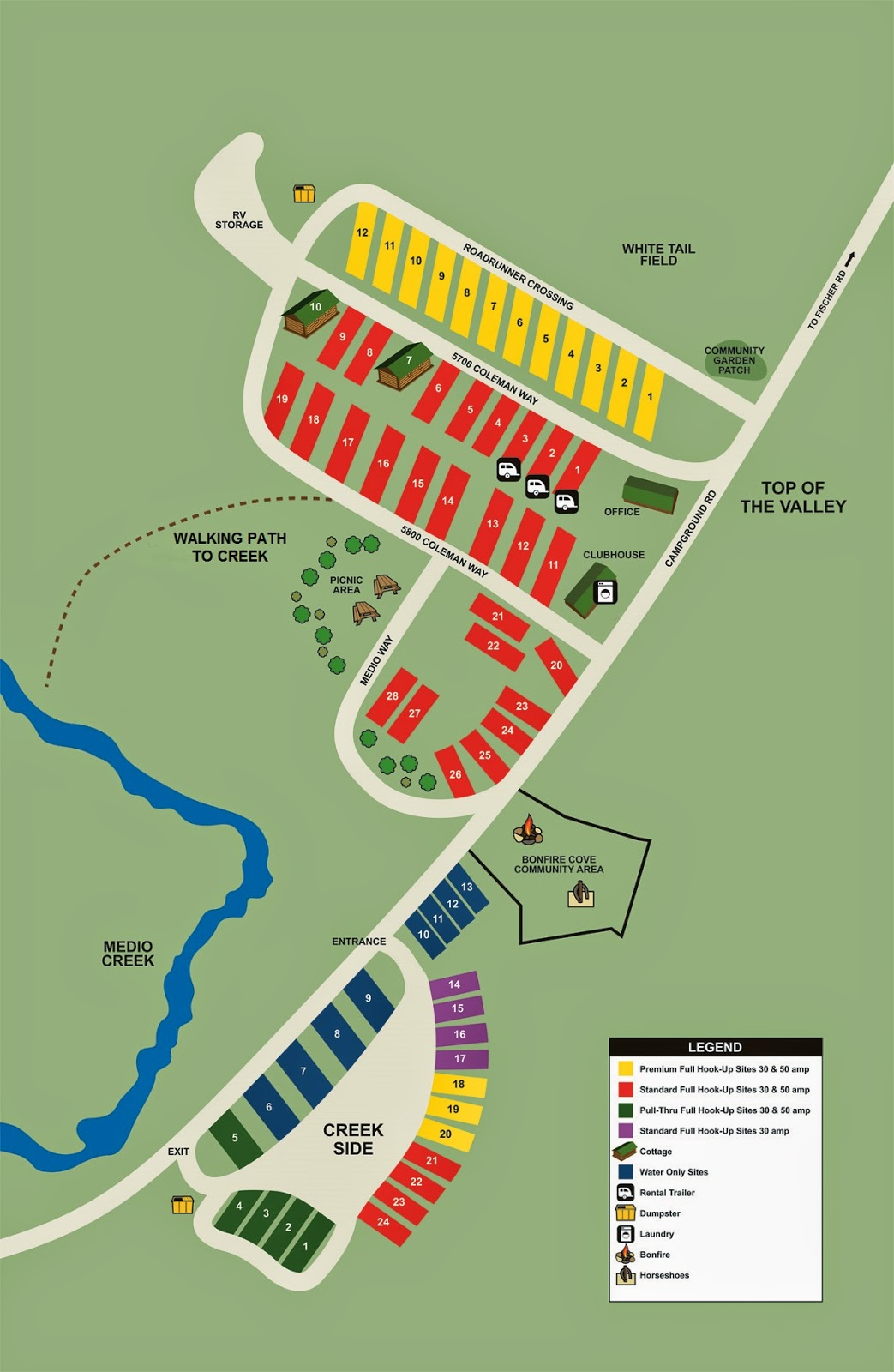 Our new RV Site Map with the Medio Corner and Top of the Valley Sites