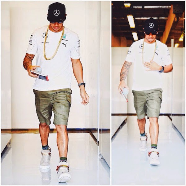 Lewis Hamilton wears Union x Buscemi suede and crocodile sneakers at F1 Grand Prix of Abu Dhabi 23rd November 2014