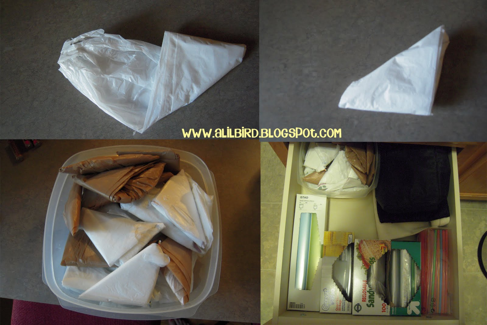 little bird tell how to fold plastic grocery bags. Black Bedroom Furniture Sets. Home Design Ideas