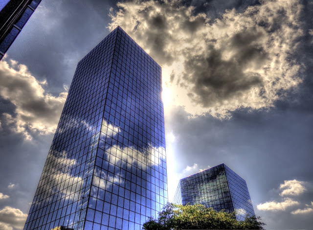 Memorial Plaza - Sun peaking around - Houston, Texas