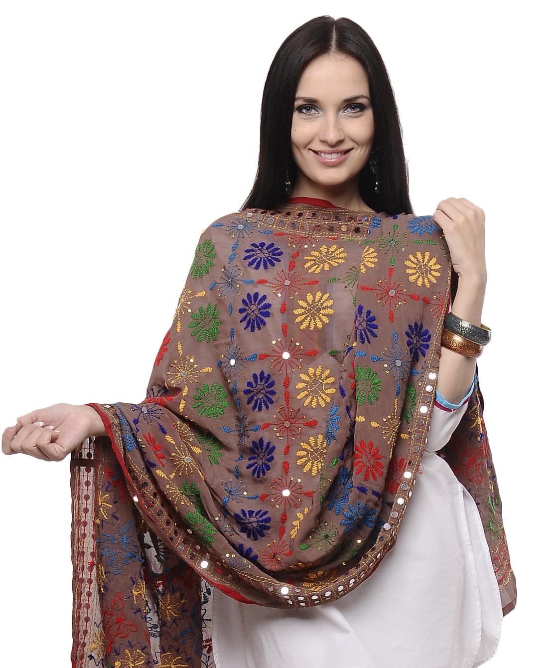 Handmade phulkari dupatta hand embroidered