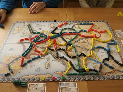 Ticket To Ride: Europe - The board at the end of the game and after the scorring! Note Gwen's marker on the far side, she smashed the rest of us.