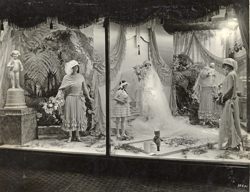 The 1920 s wedding dresses notice the brides dress middle right