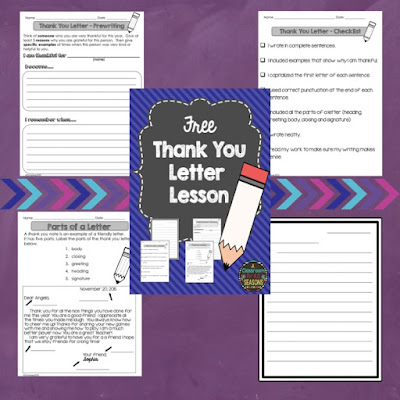 it includes a label the parts of a letter worksheet a graphic organizer a writing checklist and lined paper thank you