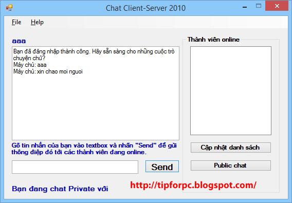 Source C# Mã nguồn Phần Mềm Chat qua mạng Lan dùng Socket