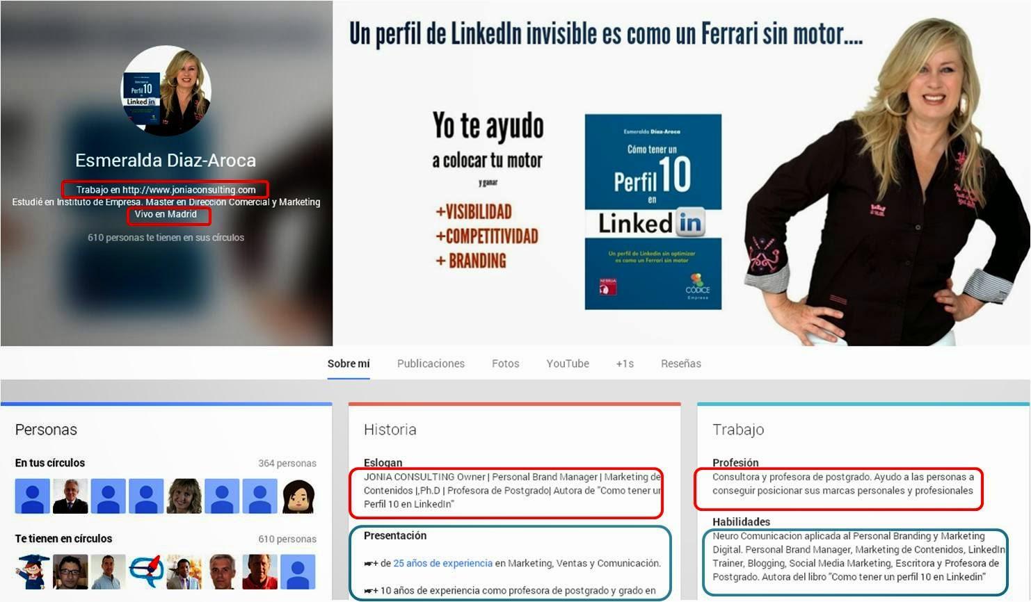 Perfil de Google Plus y secciones que forman parte del SERP. Esmeralda Diaz-Aroca