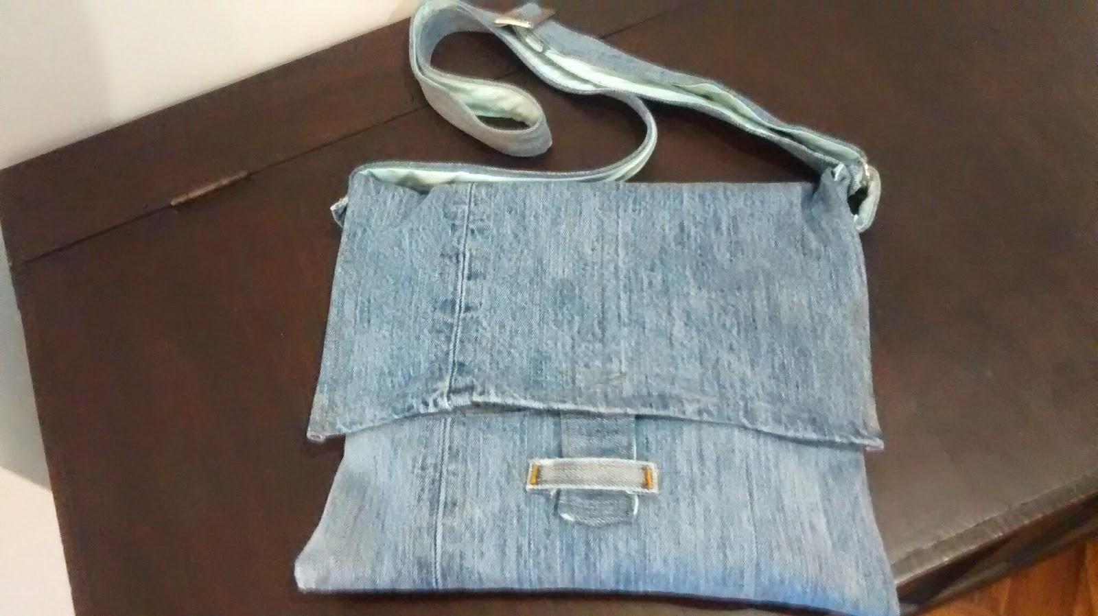 Casalinga artigiana borsa jeans fai da te piccola for Borse fai da te jeans