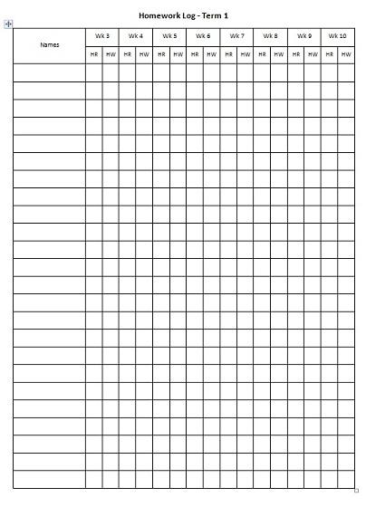 Homework sheets for teachers