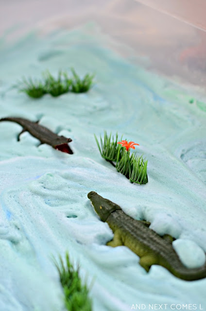 Alligator small world sensory play idea for kids from And Next Comes L
