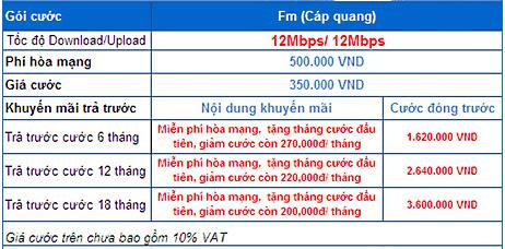 bảng báo giá cáp quang VNPT quận 2