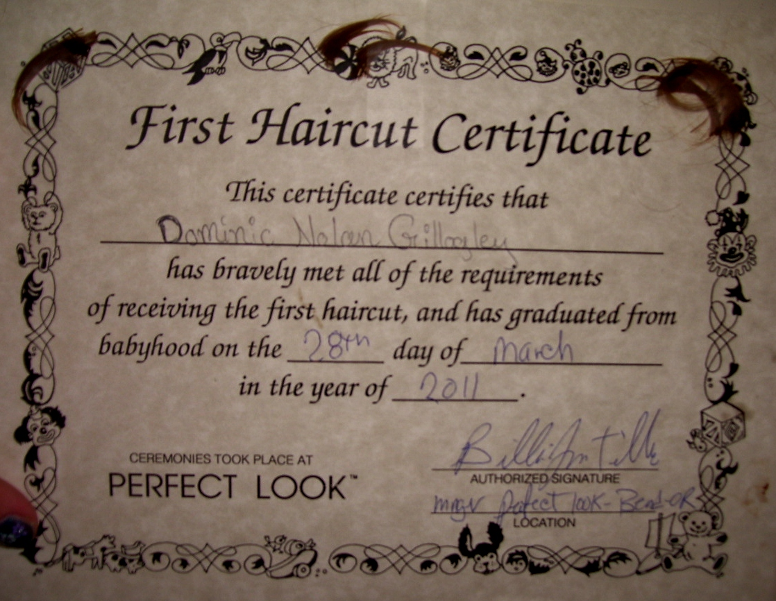 my first haircut certificate template - first haircut certificate template dominic moments first
