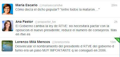 Tuits de periodistas de la casa sobre los cambios en TVE