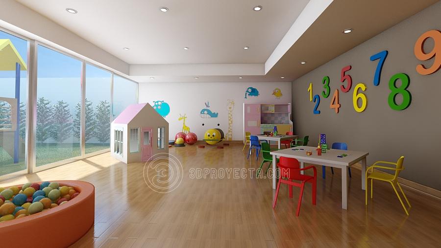 Vistas en 3D fotorealista para sala de juegos de nios Vistas 3D