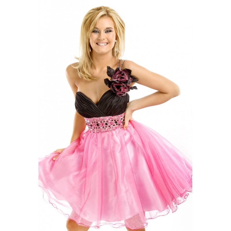 long layered haircut pink homecoming dresses