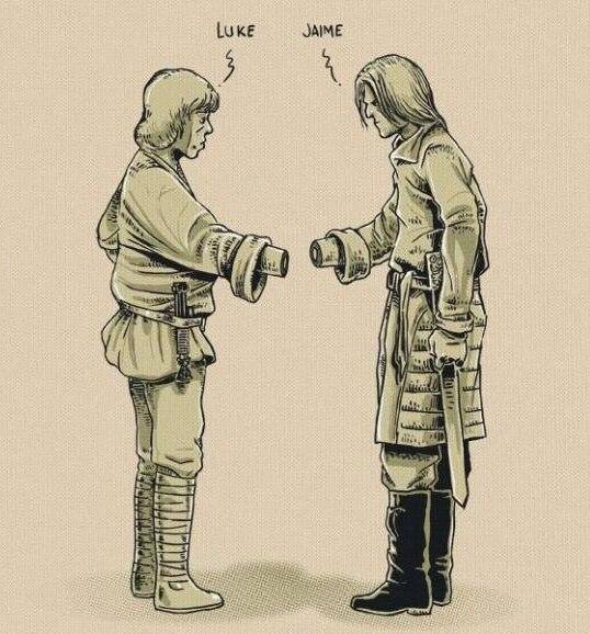 Luke Skywalker y Jaime Lannister, ¿problemas para saludaros?