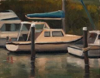Oil painting of several small boats moored in calm water.