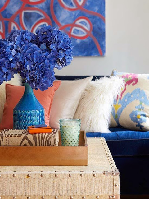 blue orange living room