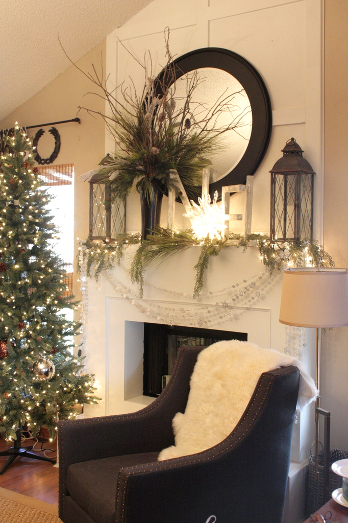 White mantel winter white and mantels on pinterest for Christmas decorations for home interior