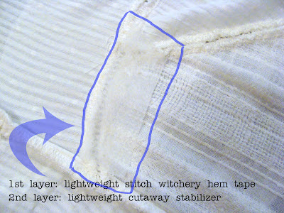 fix tears in sheer fabric by layering hem tape and stabilizer