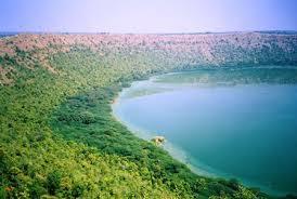 Lonar crater lake side view