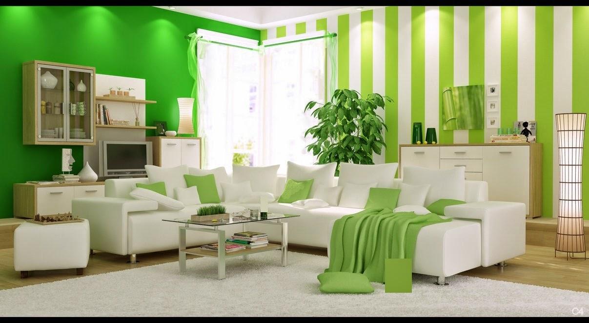 غرف جلوس مودرن باللون الاخضر