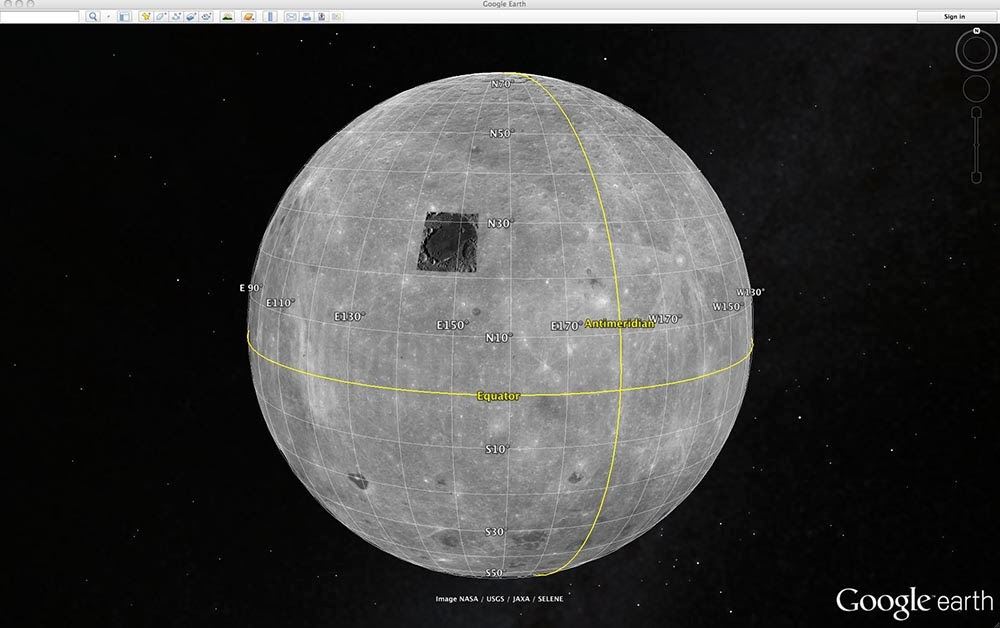 how to look at the moon on google earth