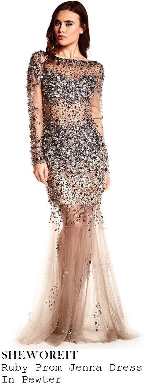 lauren-platt-nude-sheer-mesh-crystal-sequin-embellished-maxi-dress-x-factor-big-band