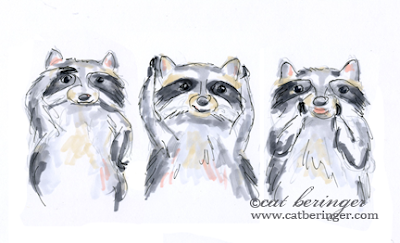 raccoons, sketch, drawing, raccoon, art, funny, hear no evil,