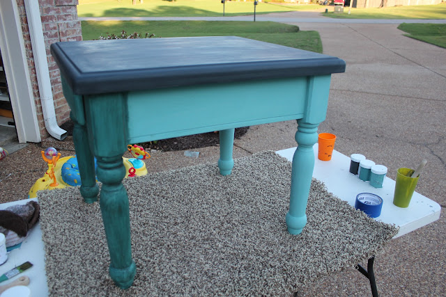 ce ce caldwells, chalk paint, clear wax, dark wax,destin gulf green, how to,end table,vermont slate
