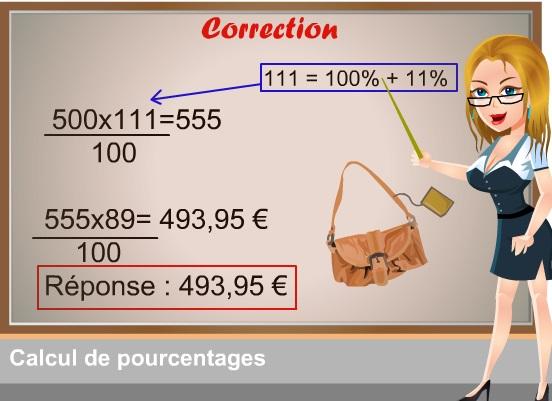 QCM-CONCOURS-GRATUITS: 21 correction problème avec pourcentage