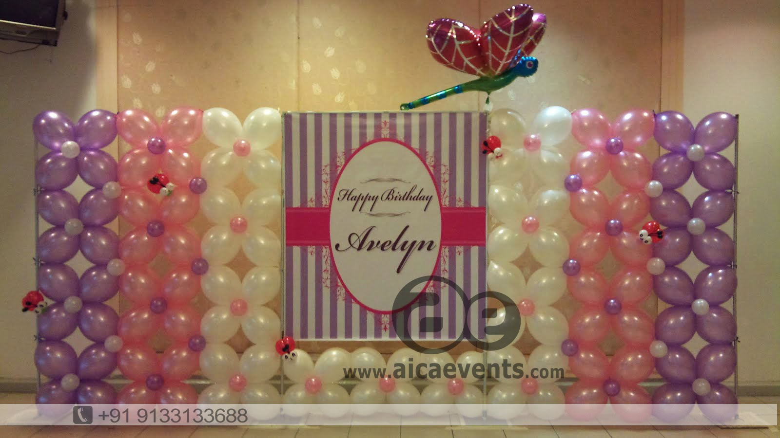 Birthday decoration for wall image inspiration of cake for Balloon decoration for birthday