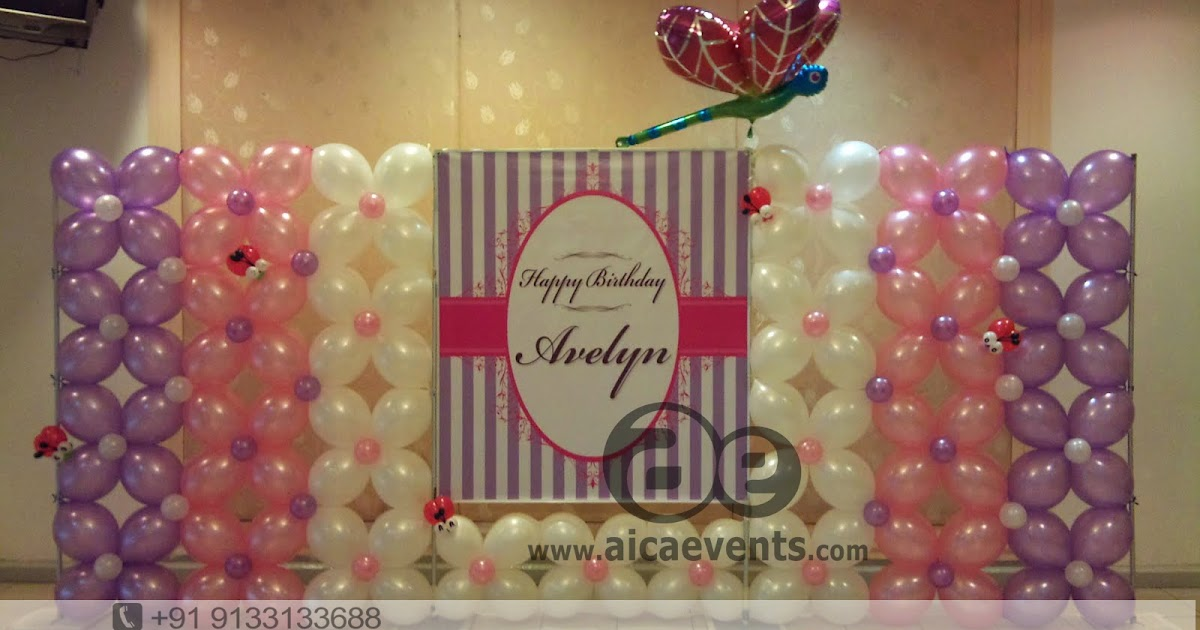 Aicaevents balloon decoration for birthday parties for Balloon decoration on wall for birthday