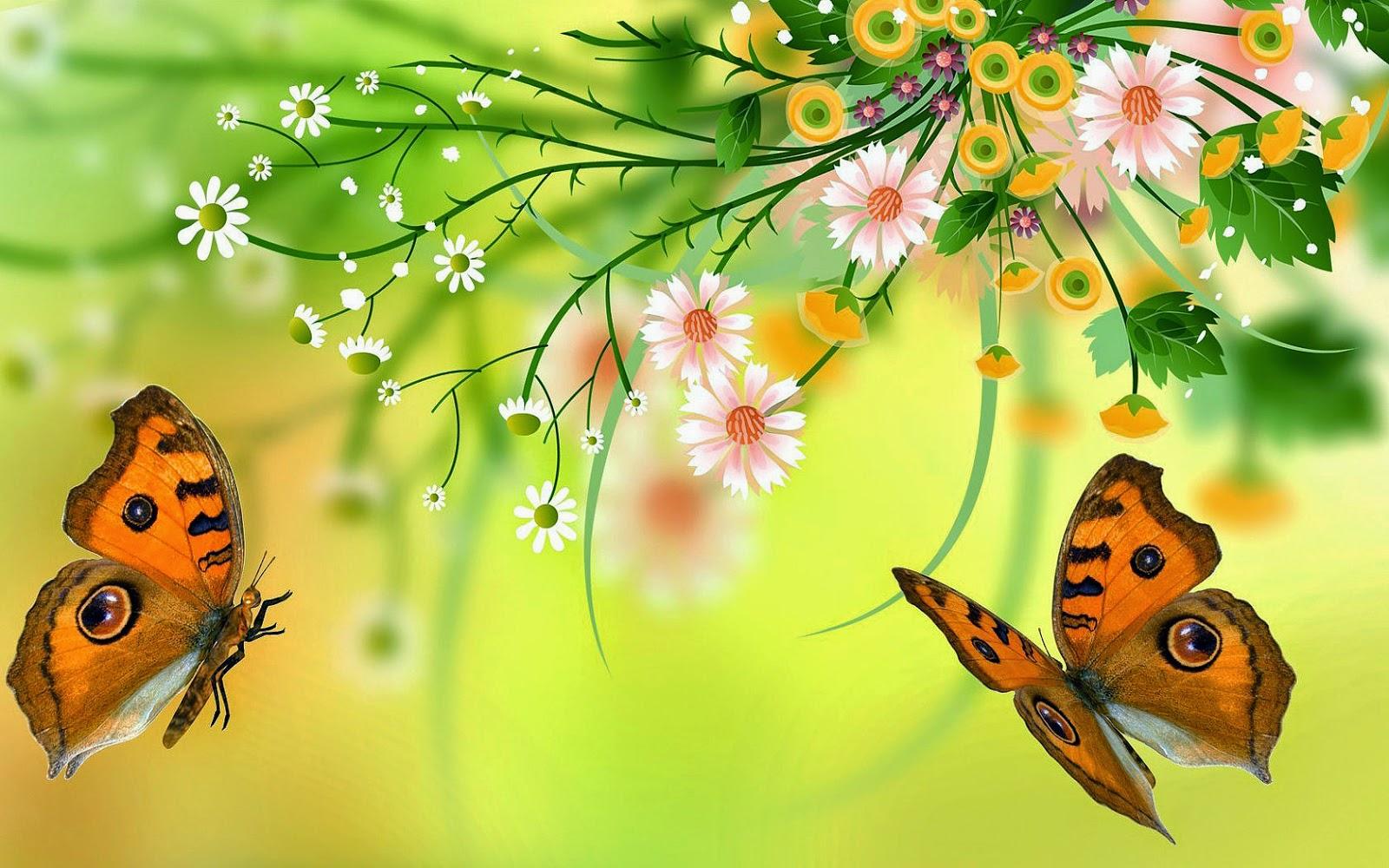 Bloemen en vlinders in de zomer bureaublad achtergronden - S van de bureau ...