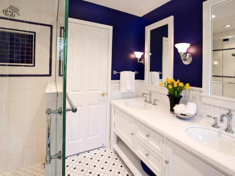 blue bathroom black vanity. bathroom black glass mirror double