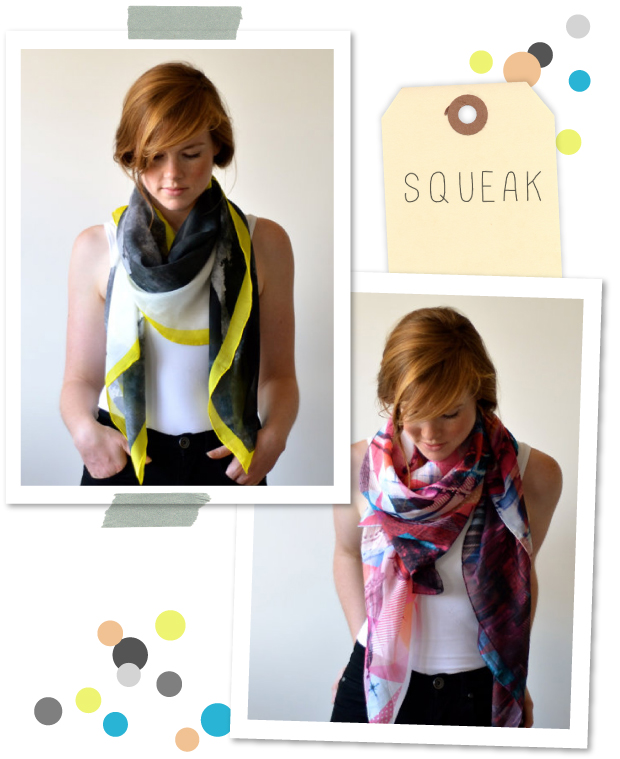 Squeak design silk scarves