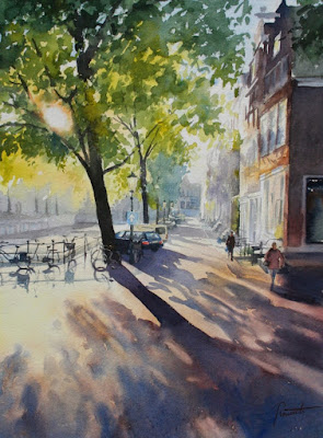 "Hannie Rieuwerts' watercolour entitled ""against the light"""