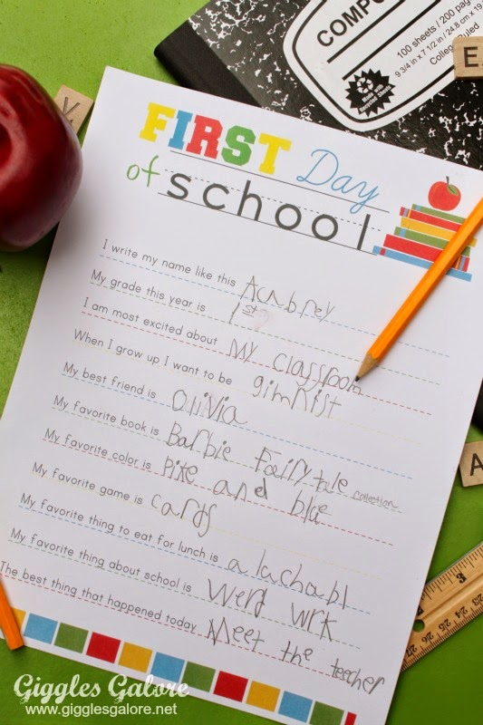 first day of school kids questionnaire