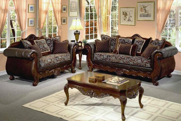 TRADITIONAL Dark Wood Sofa FURNITURE Sets Elegant Classic Design ...