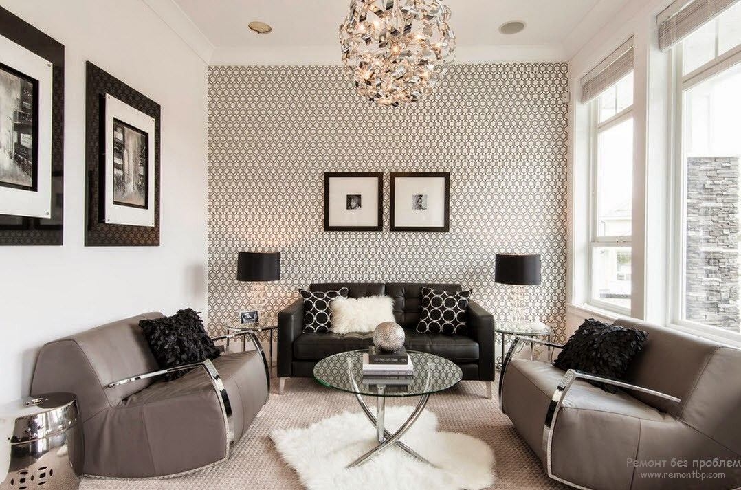 Trendy living room wallpaper ideas colors patterns and types for Grey wallpaper living room ideas