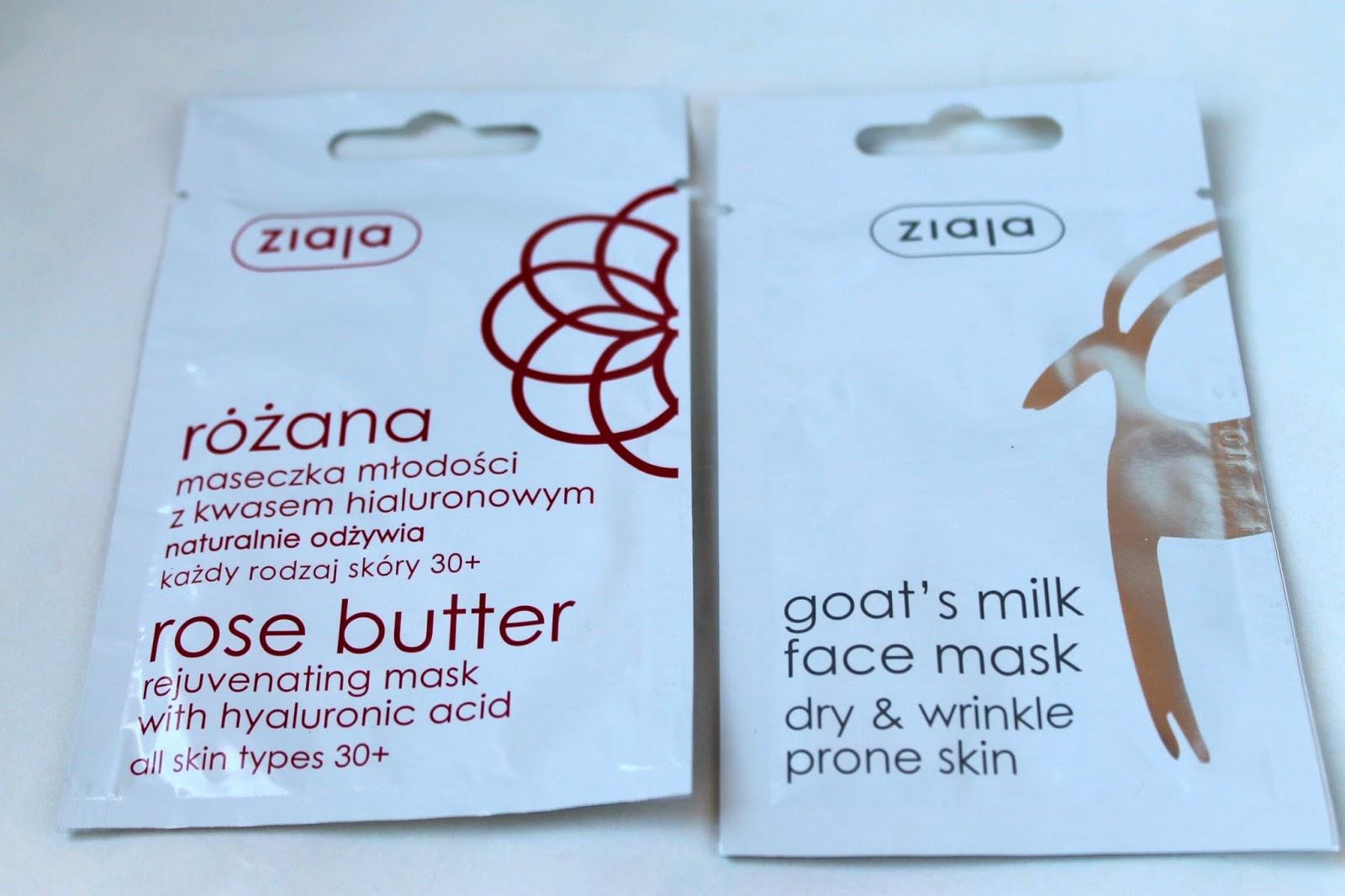 Ziaja pleťové masky - kozie mlieko & ružové maslo