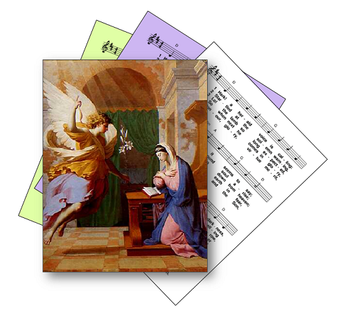 Angel Gabriel announcing Jesus to Mary - picture on hymn sheet music icon