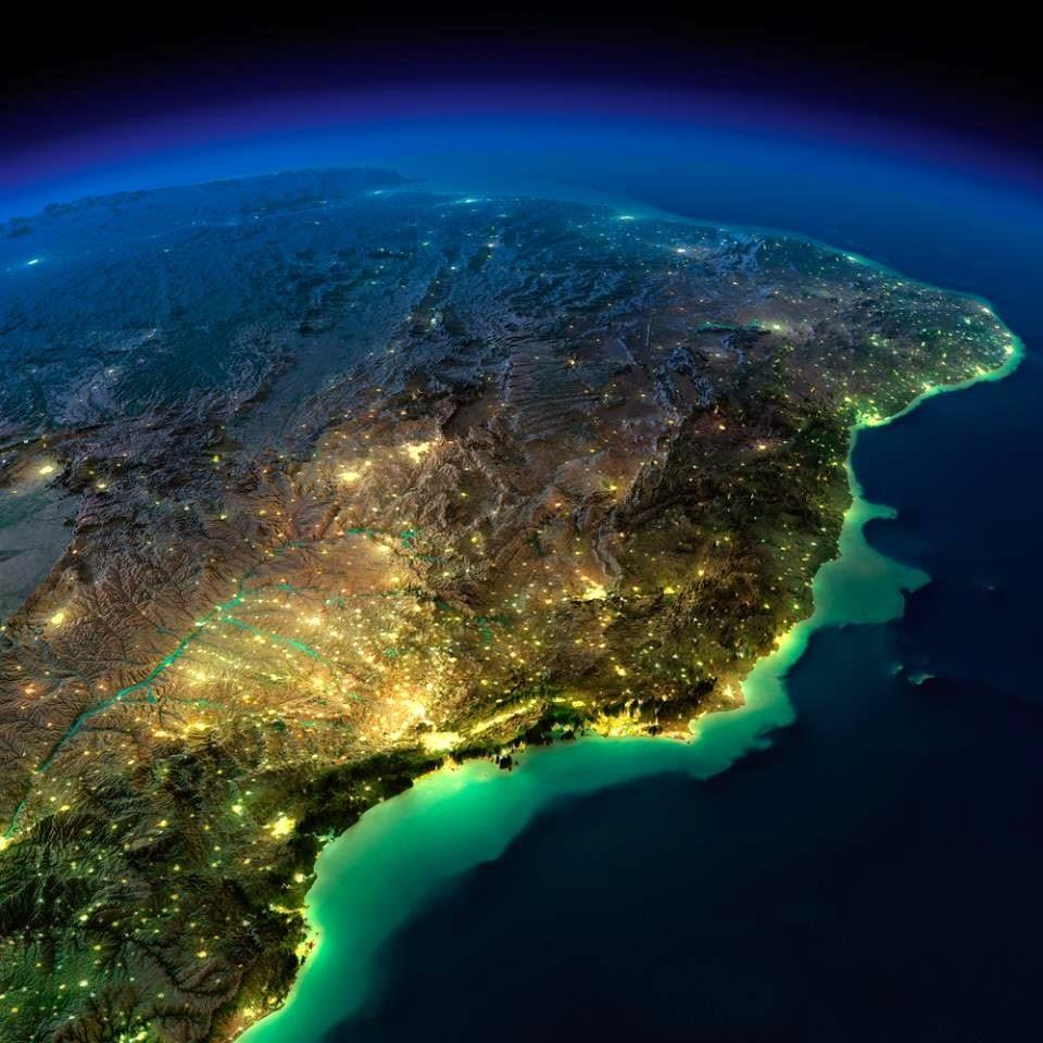 Brasil visto do Satelite a noite