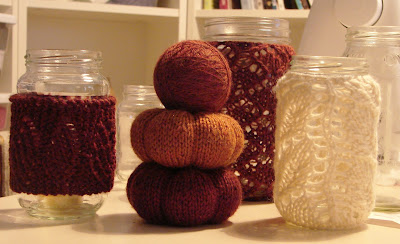 fall autumn knit pumpkin lace candle holder orange white yarn