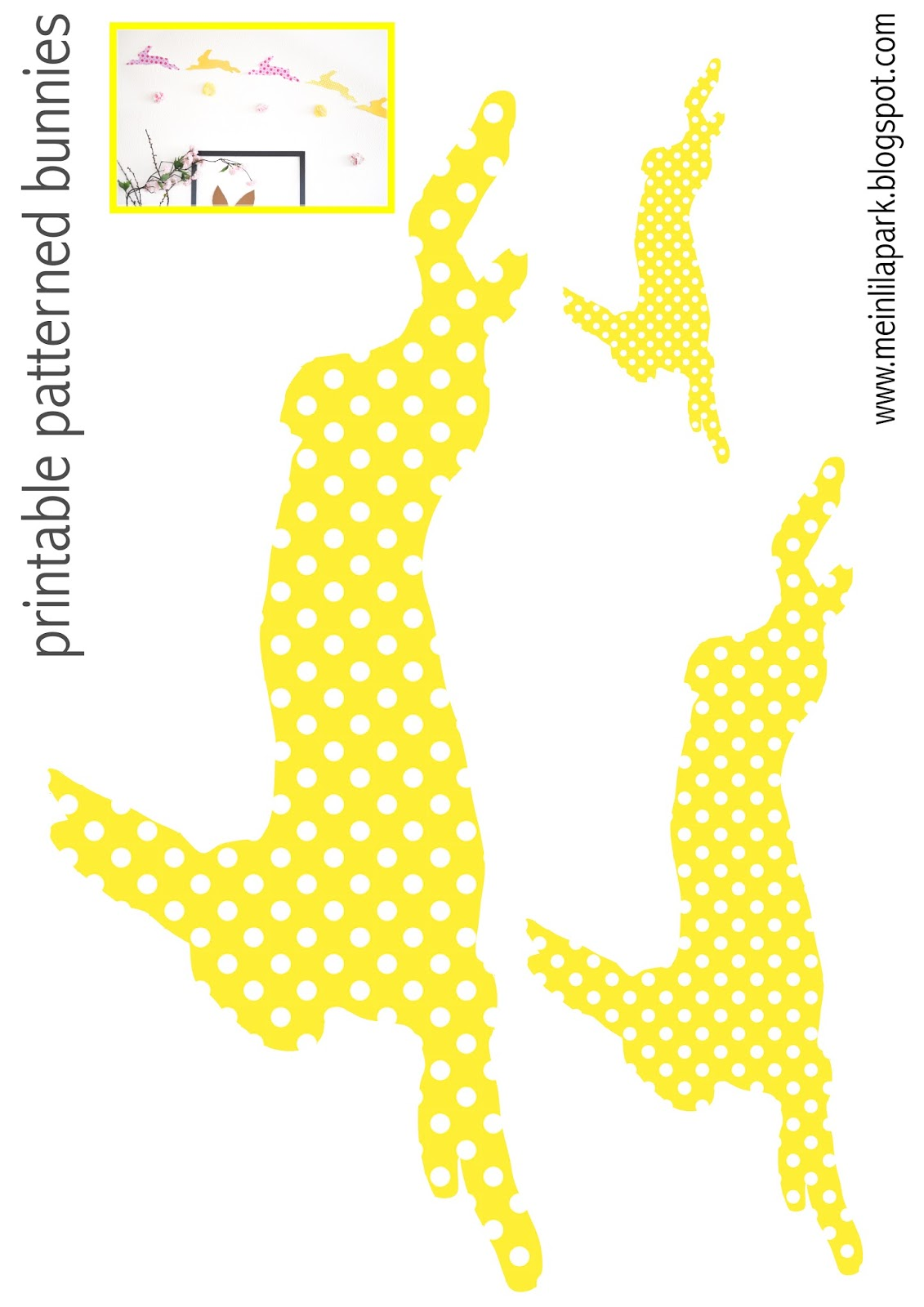 Free printable patterned bunny templates - ausdruckbare Hasen ...