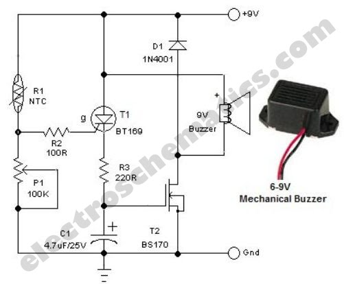 features for simple freezer alarm circuit