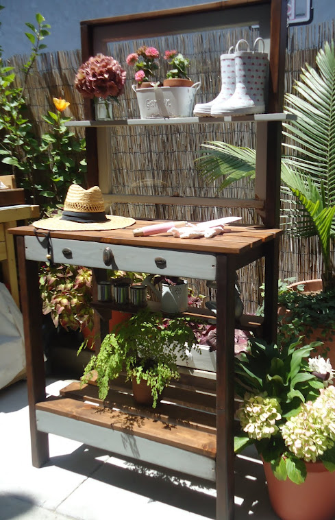 1920s Window Table in Distressed Grey with Vintage Hardware - SOLD