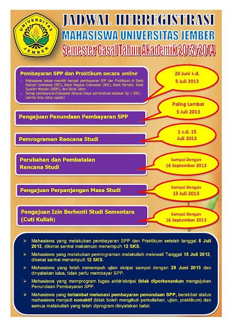 Jadwal Heregistrasi Mahasiswa Universitas Jember Semester gasal 2013 / 2014