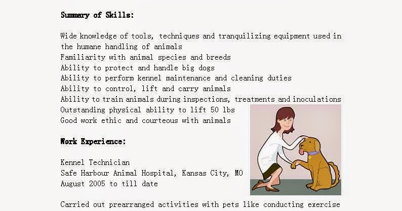resume samples  kennel technician resume sample