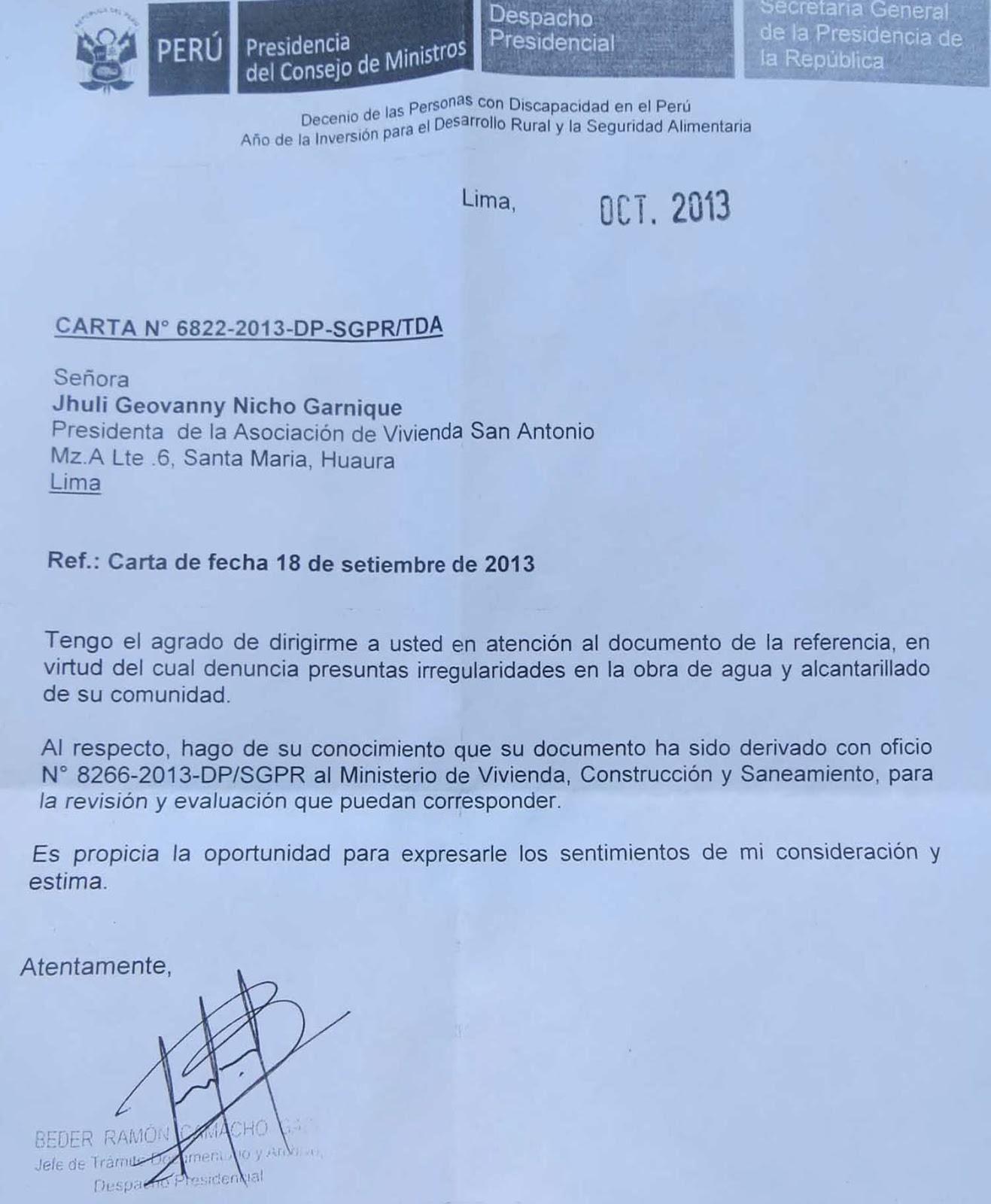 Documento N°6822 remitida desde el despacho presidencial.